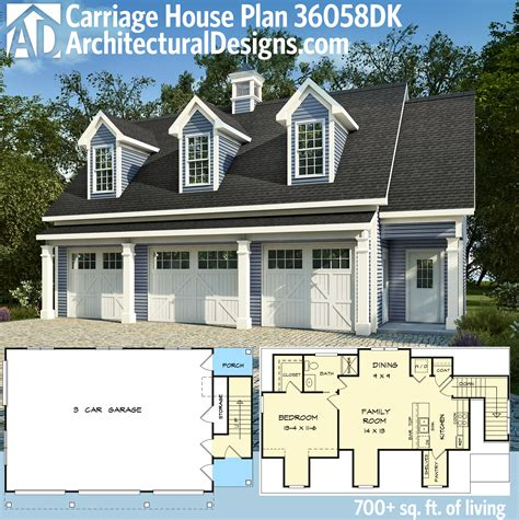 carriage house apartment floor plans house design plans plan 36058dk 3 car carriage house plan with 3 dormers