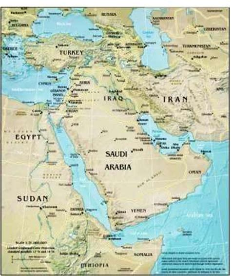 middle east map geographical geography for middle east