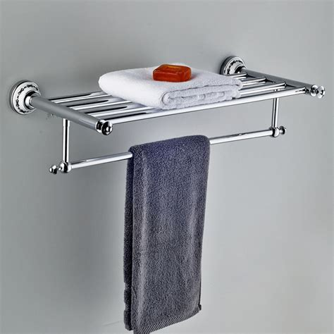 24 quot luxury modern towel bar with shelf in chrome a203