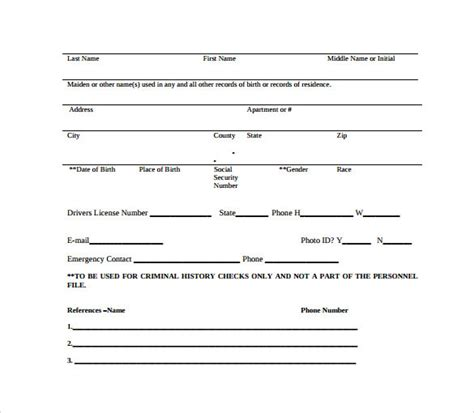background check form template free background check authorization form 10 free