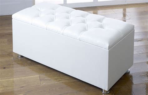 white faux leather ottoman ottoman storage blanket box in faux leather
