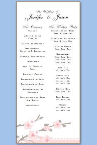 free wedding program template s word andcothepiratebay