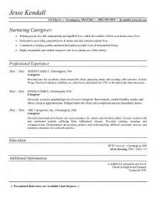 Caregiver Resume Exle by Caregiver Resume
