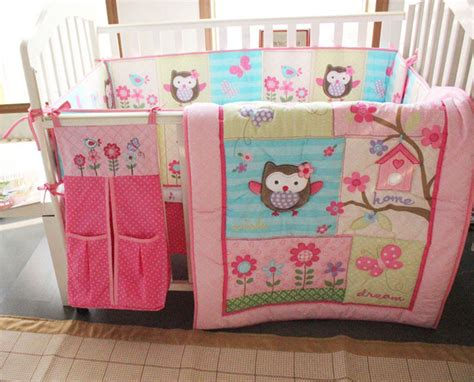 New Baby Girls Pink Nursery Bedding Set 8pcs Crib Cot Baby Owl Crib Bedding Sets