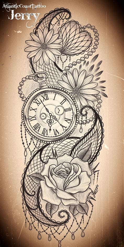 pocket watch and flowers tattoo design idea mendi and