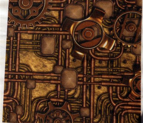 steampunk panel gears  pipes brass fabric bonnie