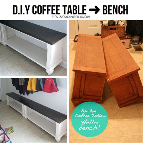 coffee table bench diy cut in half d i y double the trouble twice the fun
