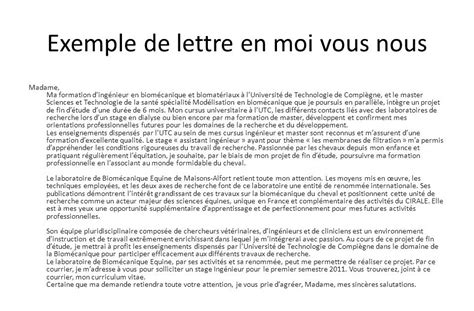 Exemple De Lettre De Motivation ã Tã Lettre De Motivation Vous Moi Nous Employment Application