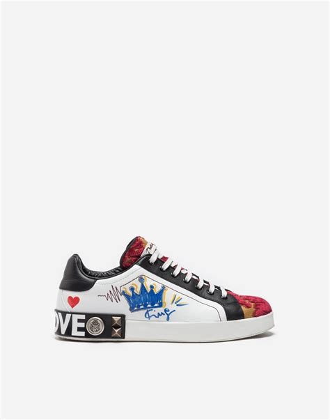 New Arrival Flat Dolce Gabbana 81 dolce gabbana leather and brocade sneakers with appliqu 233 s multicolor modesens