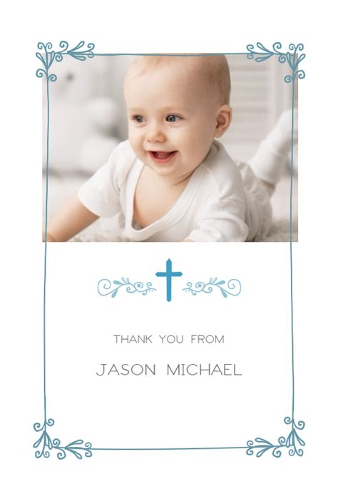 thank you card baptism template powerpoint cross and frame free baptism thank you card greetings
