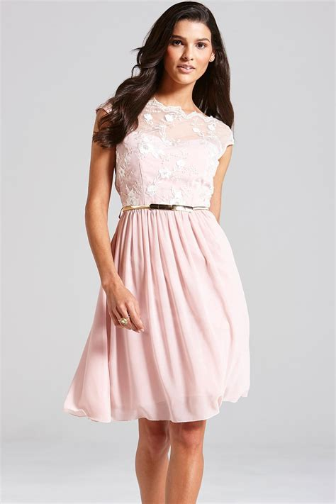 Sf 725 Flower Embroidery Flare pale pink floral embroidered fit and flare dress from