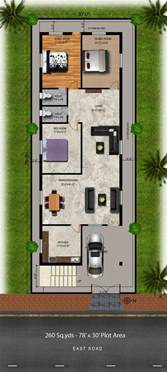 3bhk house plan 260 sq yds 30x78 sq ft east house 3bhk floor plan