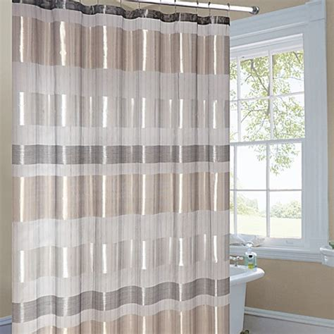 Gold Striped Curtains Metallic Striped Gold Fabric Shower Curtain Bed Bath Beyond