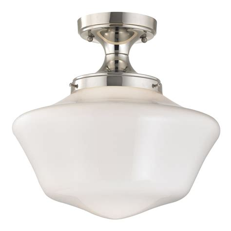 Schoolhouse Ceiling Lights 14 Inch Schoolhouse Ceiling Light In Polished Nickel