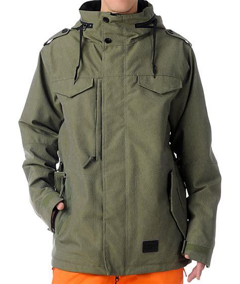 army patterned ski jacket 686 m 65 army green 10k snowboard jacket zumiez