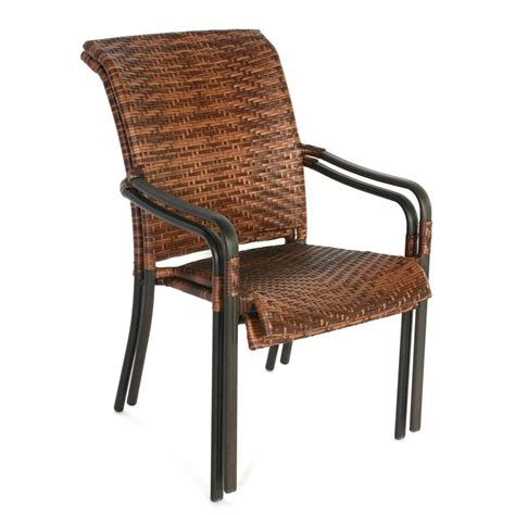 Woven Patio Chairs Hton Bay Manila Bay Brown Woven Stackable Patio Dining Chair 12 Per Dolly 164 014 Chr