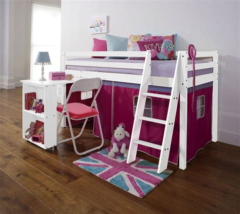 Cabin Mid Sleeper Beds by Cabin Bed Mid Sleeper With Desk In White With Pink Tent