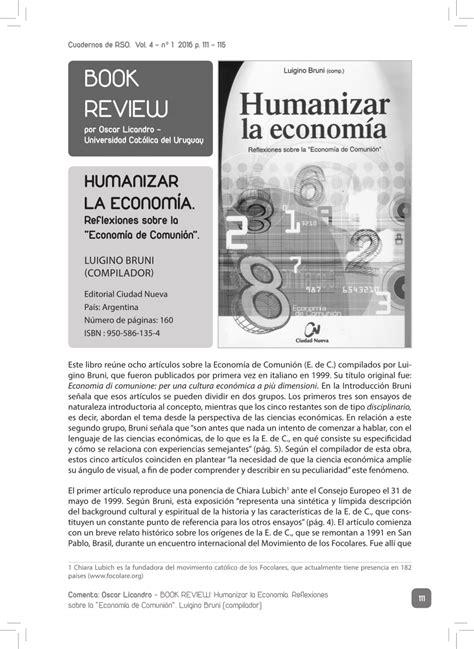 (PDF) BOOK REVIEW del libro HUMANIZAR LA ECONOMÍA