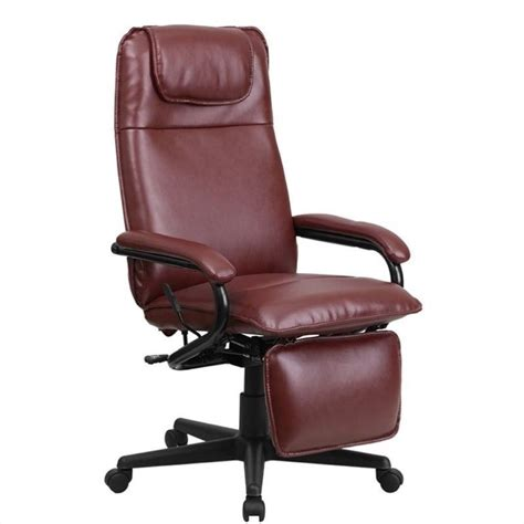 cymax office furniture high back leather reclining office chair in burgundy bt