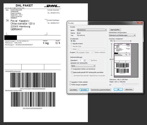 Dhl Versandaufkleber dhl label drucker und etiketten format magento