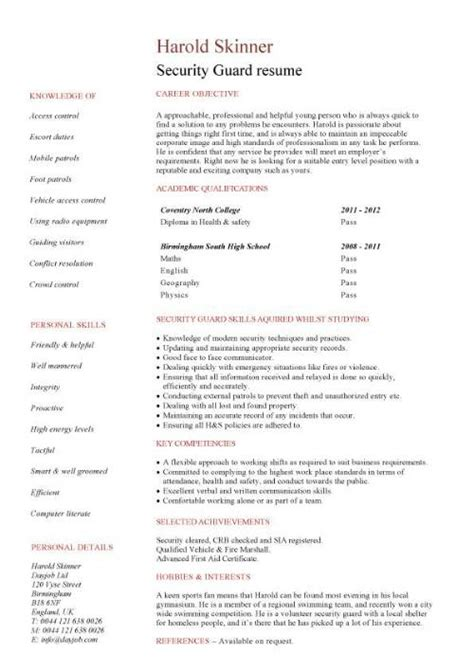 security guard resume template security guard cv sle