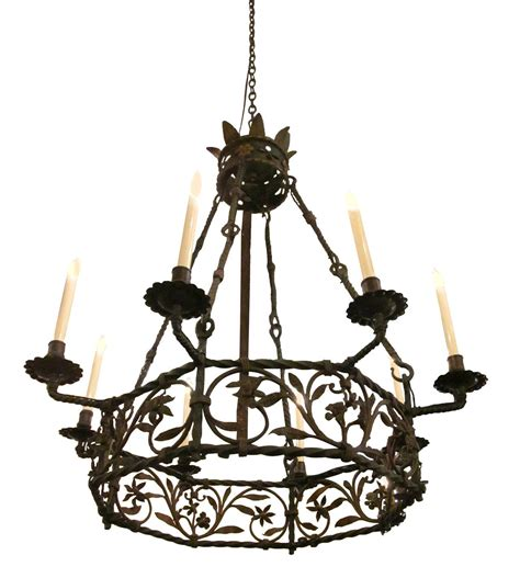 Wrought Iron Candle Chandelier Late 1890s Electrified Wrought Iron Chandelier With Eight Candle Lights At 1stdibs