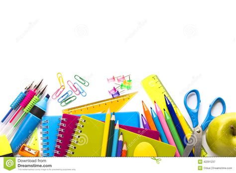 supplies on white background stock image image