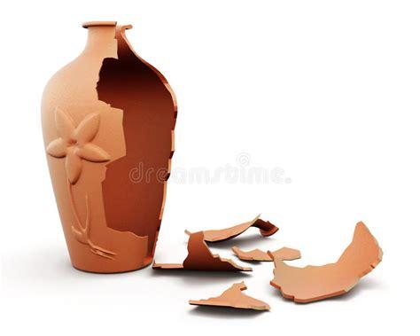 vaso rotto vaso rotto dell argilla su fondo bianco 3d rendono i