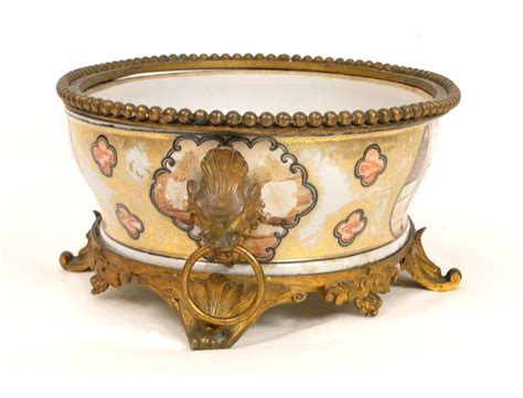 Ceramic Planters India by Porcelain Planter India Company And Gilt Bronze Decorated