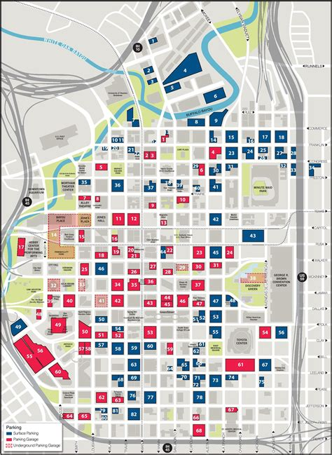 map of downtown texas houston downtown parking map