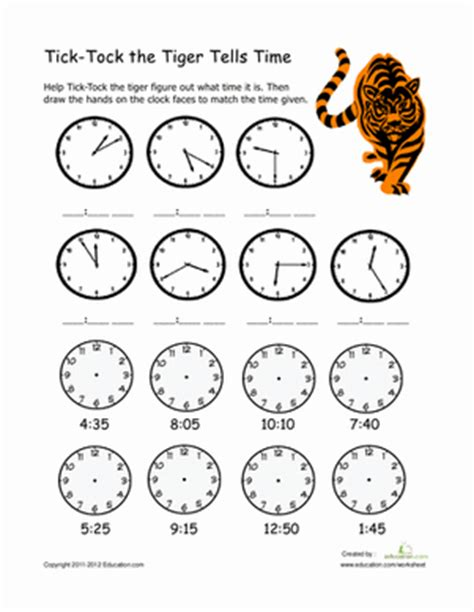 printable clock activities first grade learning to tell time worksheet education com