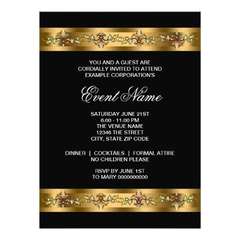 corporate invitation template black and gold corporate event template 6 5x8 75