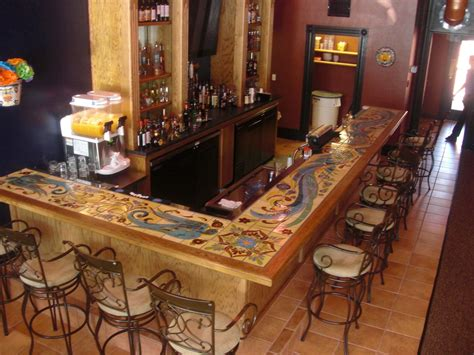 crafted custom glazed tile bartop by quinn