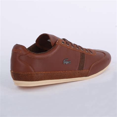lacoste misano 25 mens laced leather trainers shoes brown