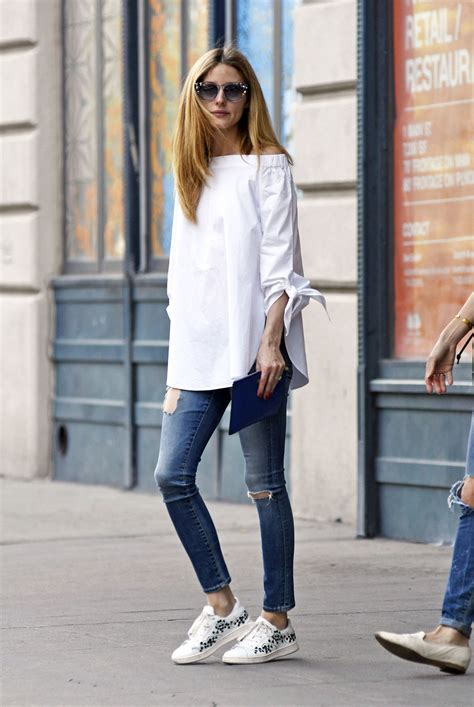 Olivia Palermo Home Decor by Olivia Palermo S Off The Shoulder Top And White Sneakers
