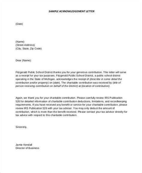 Acknowledgement Letter Donor Advised Fund Gift Acknowledgement Letter Docoments Ojazlink