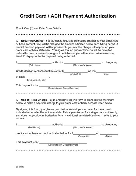 ach authorization form template free credit card ach authorization forms pdf word