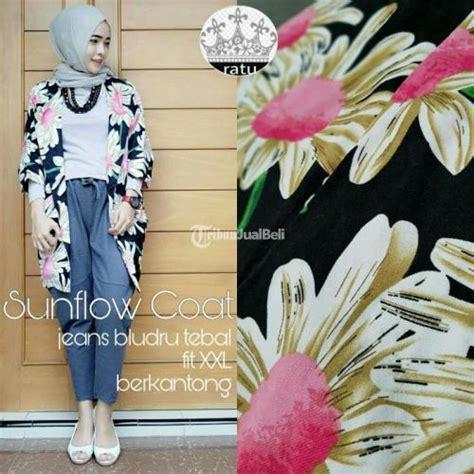 baju cewek motif bunga satu warna sunflow coat bahan bludru tebal baru harga minim sekali