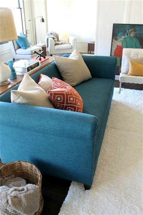 Remodeling Ideas For Small Bathrooms Peacock Teal Chesterfield Sofa With Orange And Teal Color