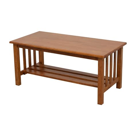 56 light brown coffee table with bottom shelf tables