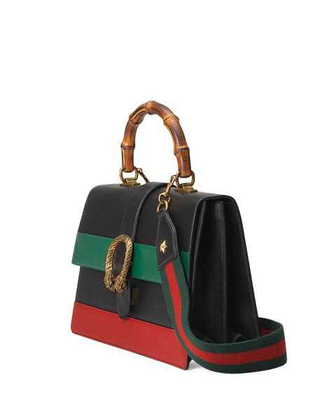 Gucci Dionysus Striped Bamboo Top Handle 26184 Kualitas Semi Premi lyst gucci dionysus striped bamboo top handle bag in black
