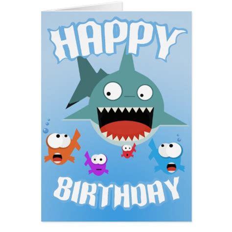 Shark Birthday Card Shark Fun Birthday Card Zazzle