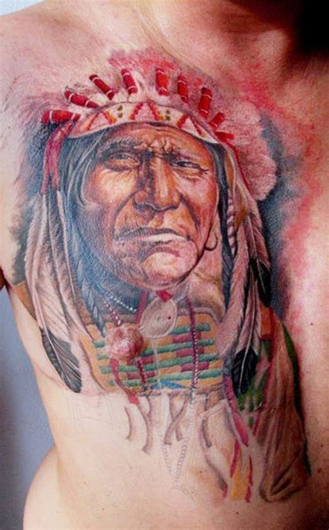chest tattoo book colorful portrait of native american tattoo on chest