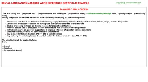 Dental Laboratory Technician Description Dental Lab Technician Work Experience Certificates