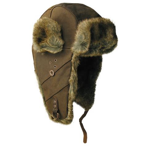 Bomber Retro Mocca inlander leather aviator hat in mocha kakadu traders