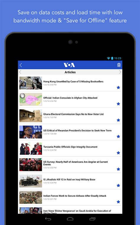 www voa news voa news play の android アプリ