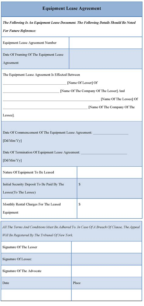 agreement template for equipment lease format of equipment