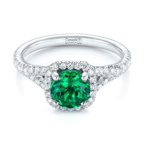 custom emerald and halo engagement ring 103476