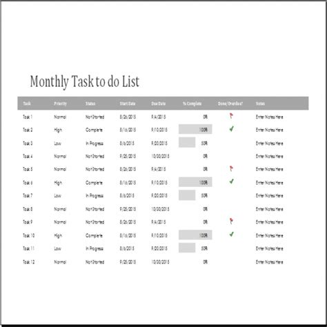 monthly task list template excel monthly task list template task list templates