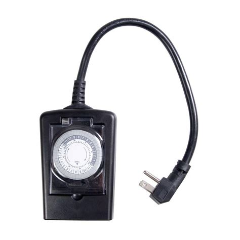 Outdoor Light Timer Westek Heavy Duty Outdoor Timer Black Tm12dolb The Home Depot